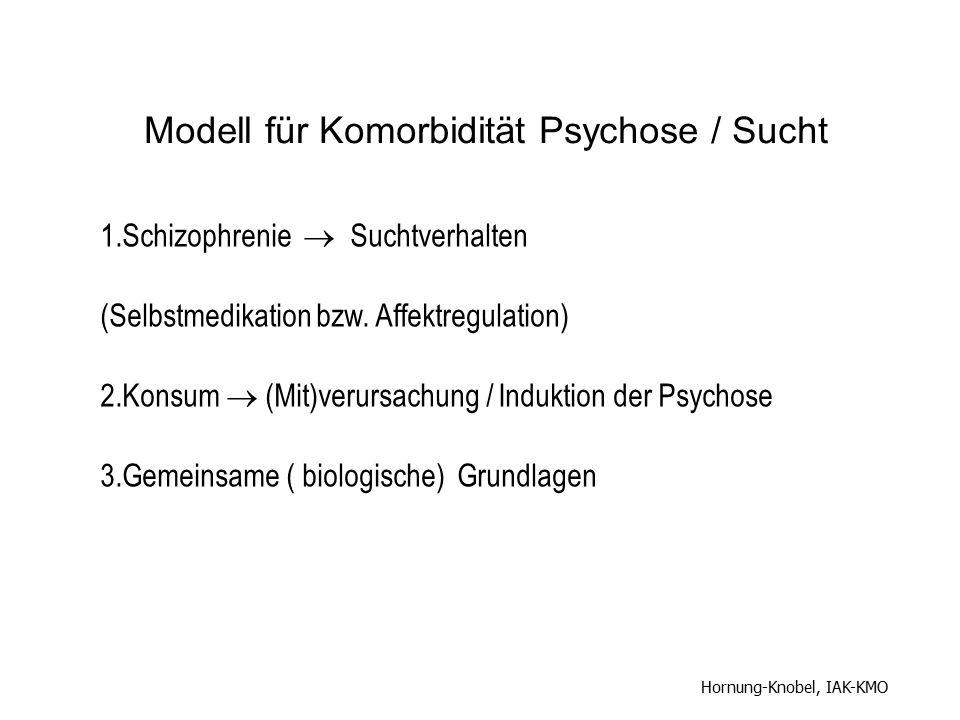 1.Schizophrenie  Suchtverhalten (Selbstmedikation bzw. Affektregulation) 2.Konsum  (Mit)verursachung / Induktion der Psychose 3.Gemeinsame ( biologi