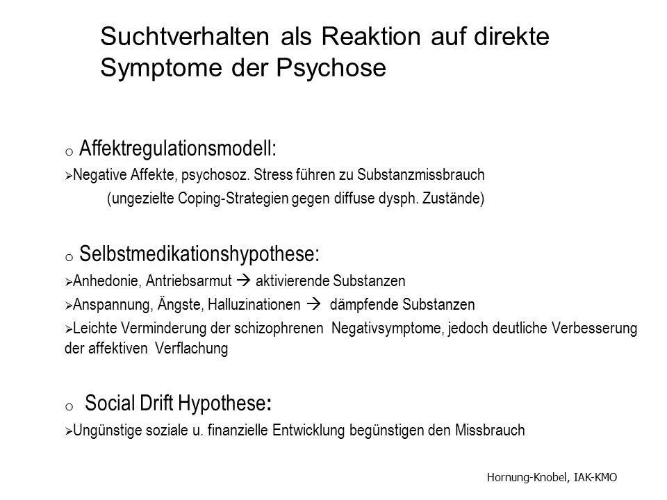 o Affektregulationsmodell:  Negative Affekte, psychosoz. Stress führen zu Substanzmissbrauch (ungezielte Coping-Strategien gegen diffuse dysph. Zustä
