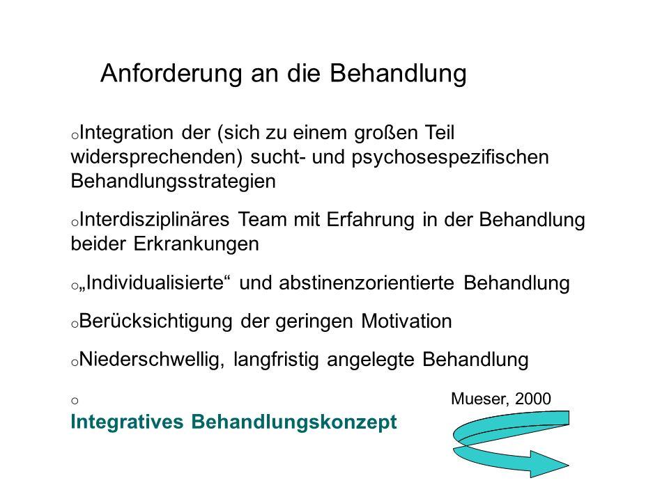 o Integration der (sich zu einem großen Teil widersprechenden) sucht- und psychosespezifischen Behandlungsstrategien o Interdisziplinäres Team mit Erf