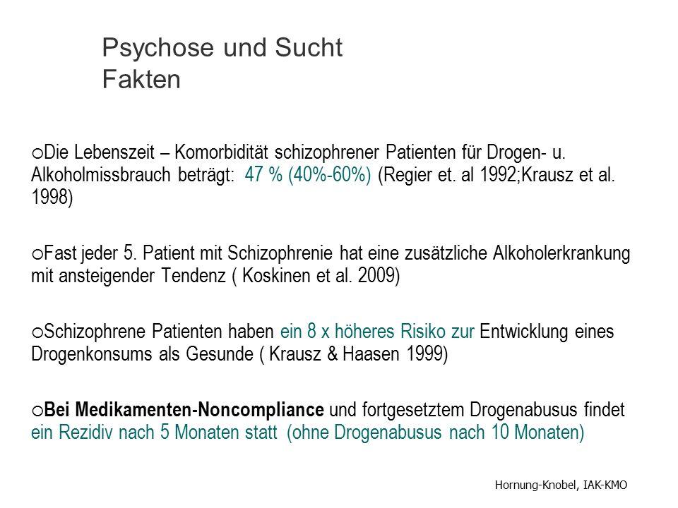  Die Lebenszeit – Komorbidität schizophrener Patienten für Drogen- u. Alkoholmissbrauch beträgt: 47 % (40%-60%) (Regier et. al 1992;Krausz et al. 199