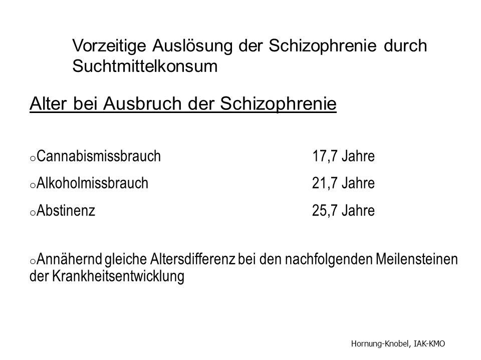 Alter bei Ausbruch der Schizophrenie o Cannabismissbrauch17,7 Jahre o Alkoholmissbrauch21,7 Jahre o Abstinenz25,7 Jahre o Annähernd gleiche Altersdiff