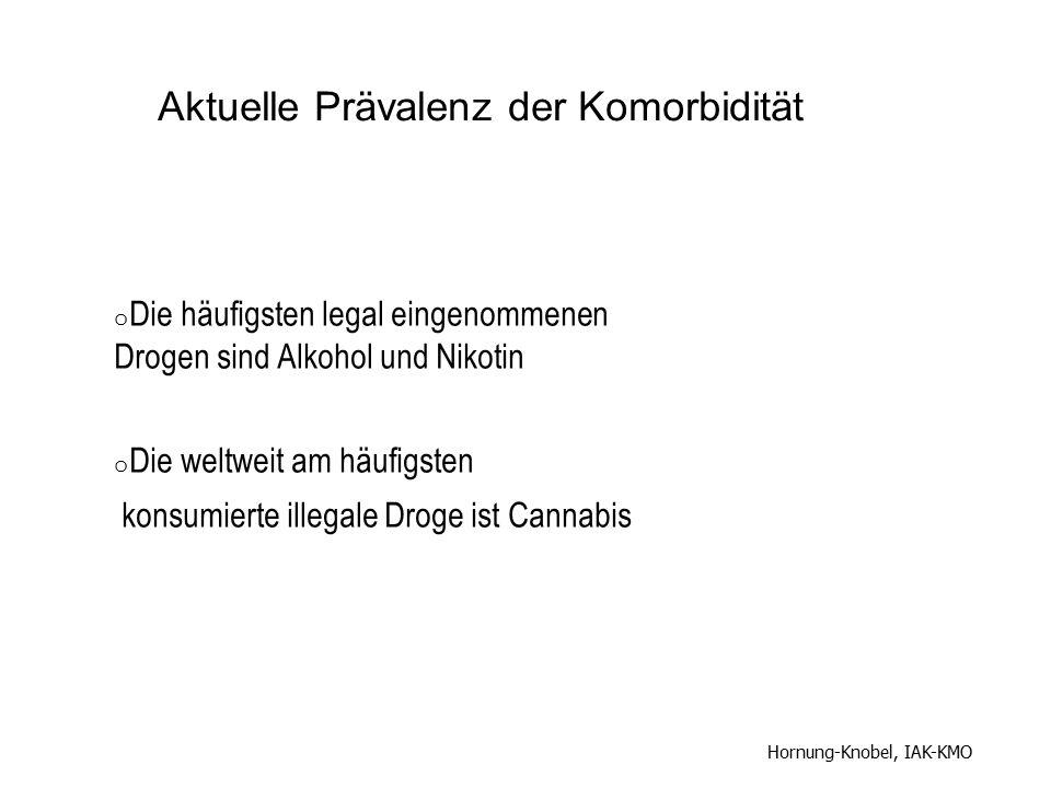 o Die häufigsten legal eingenommenen Drogen sind Alkohol und Nikotin o Die weltweit am häufigsten konsumierte illegale Droge ist Cannabis Hornung-Knob