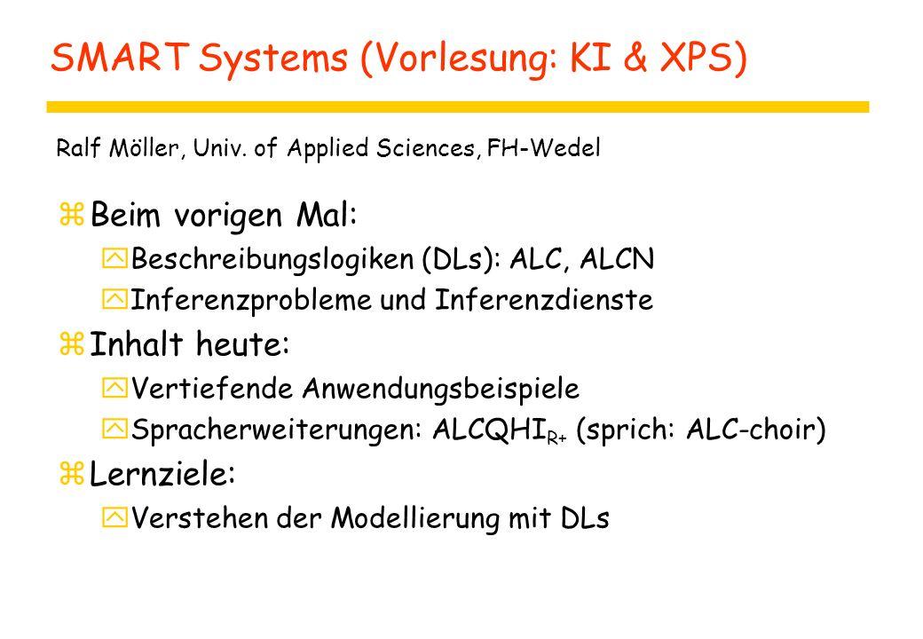 SMART Systems (Vorlesung: KI & XPS) zBeim vorigen Mal: yBeschreibungslogiken (DLs): ALC, ALCN yInferenzprobleme und Inferenzdienste zInhalt heute: yVertiefende Anwendungsbeispiele ySpracherweiterungen: ALCQHI R+ (sprich: ALC-choir) zLernziele: yVerstehen der Modellierung mit DLs Ralf Möller, Univ.