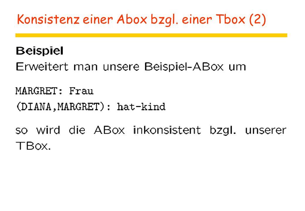 Konsistenz einer Abox bzgl. einer Tbox (2)