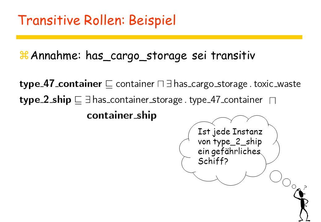 Transitive Rollen: Beispiel zAnnahme: has_cargo_storage sei transitiv Ist jede Instanz von type_2_ship ein gefährliches Schiff