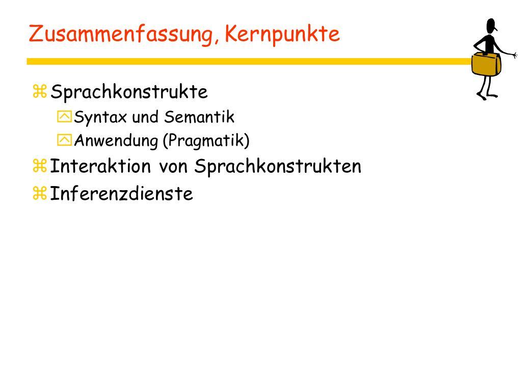Zusammenfassung, Kernpunkte zSprachkonstrukte ySyntax und Semantik yAnwendung (Pragmatik) zInteraktion von Sprachkonstrukten zInferenzdienste