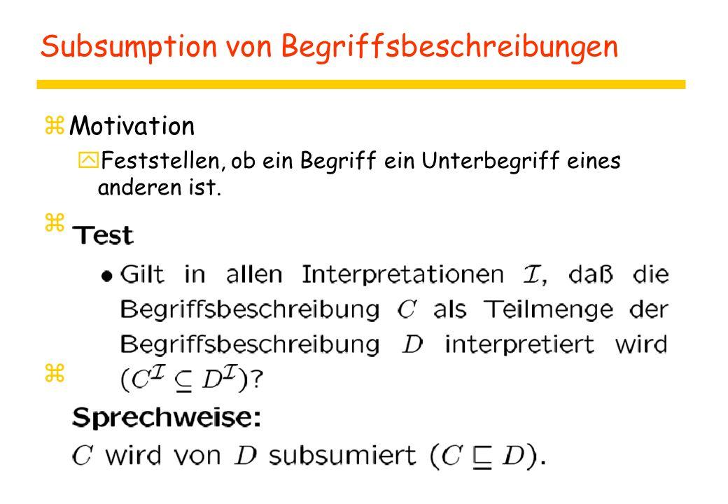 Subsumption von Begriffsbeschreibungen zMotivation yFeststellen, ob ein Begriff ein Unterbegriff eines anderen ist.