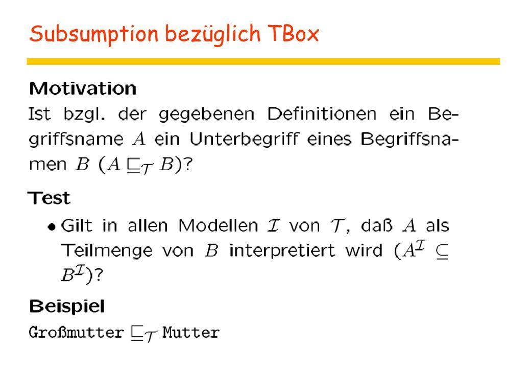 Subsumption bezüglich TBox