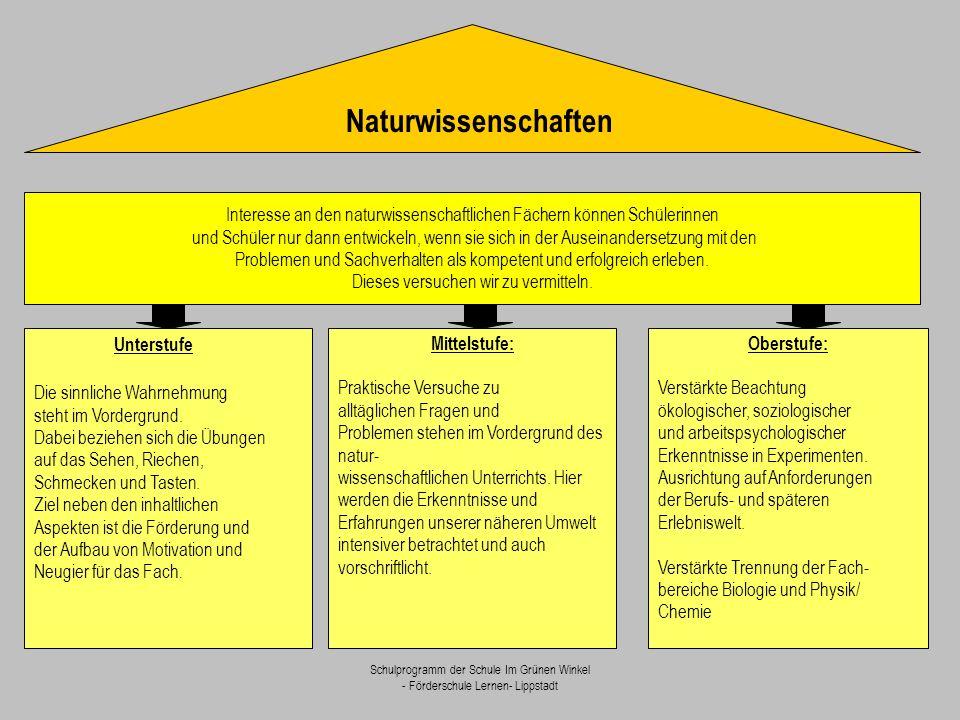 Schulprogramm der Schule Im Grünen Winkel - Förderschule Lernen- Lippstadt Naturwissenschaften Interesse an den naturwissenschaftlichen Fächern können