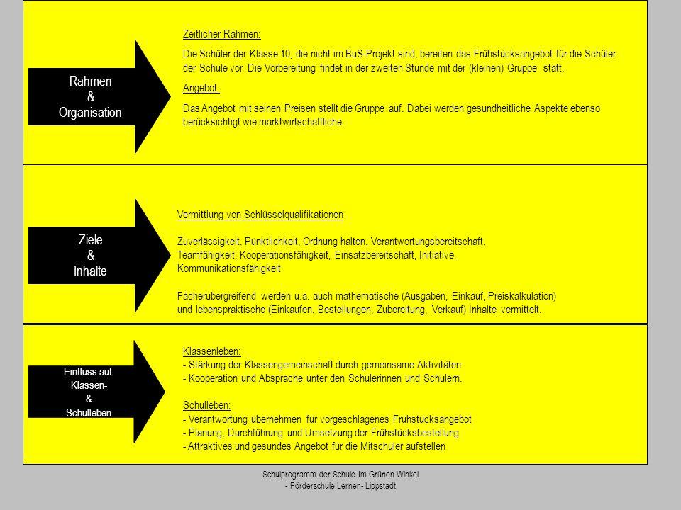 Schulprogramm der Schule Im Grünen Winkel - Förderschule Lernen- Lippstadt Zeitlicher Rahmen: Die Schüler der Klasse 10, die nicht im BuS-Projekt sind