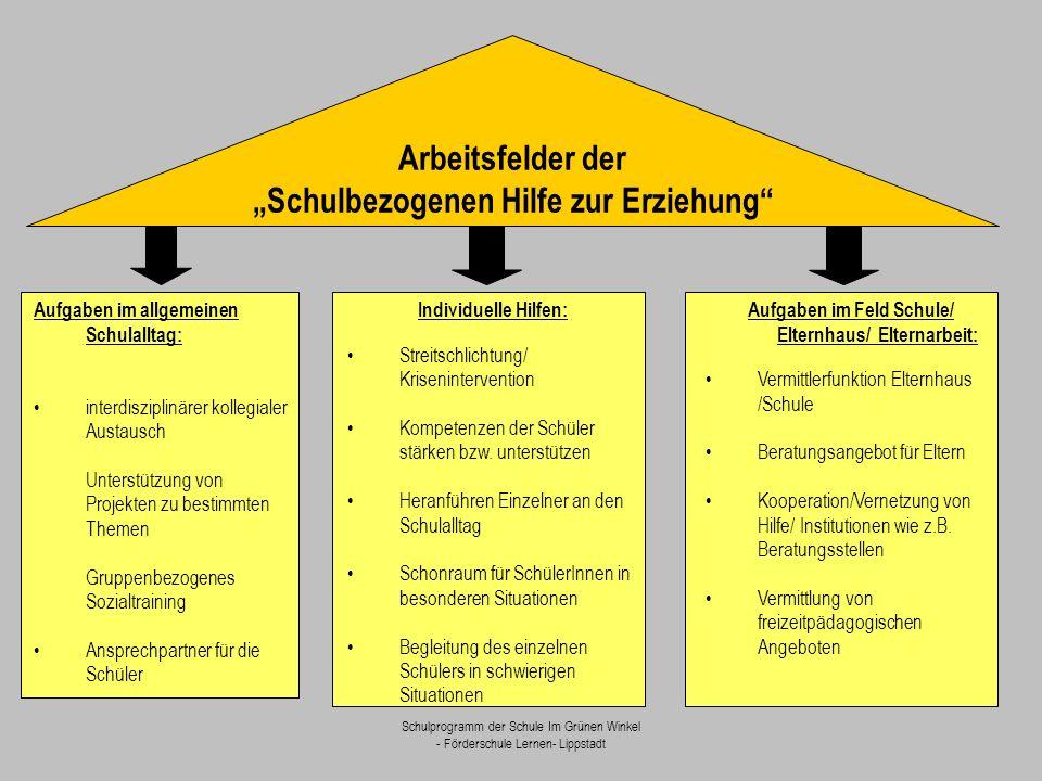"""Schulprogramm der Schule Im Grünen Winkel - Förderschule Lernen- Lippstadt Arbeitsfelder der """"Schulbezogenen Hilfe zur Erziehung"""" Aufgaben im allgemei"""