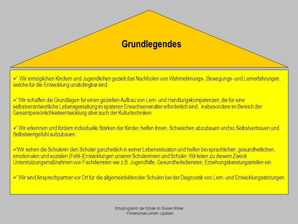 Schulprogramm der Schule Im Grünen Winkel - Förderschule Lernen- Lippstadt Wir ermöglichen Kindern und Jugendlichen gezielt das Nachholen von Wahrnehm