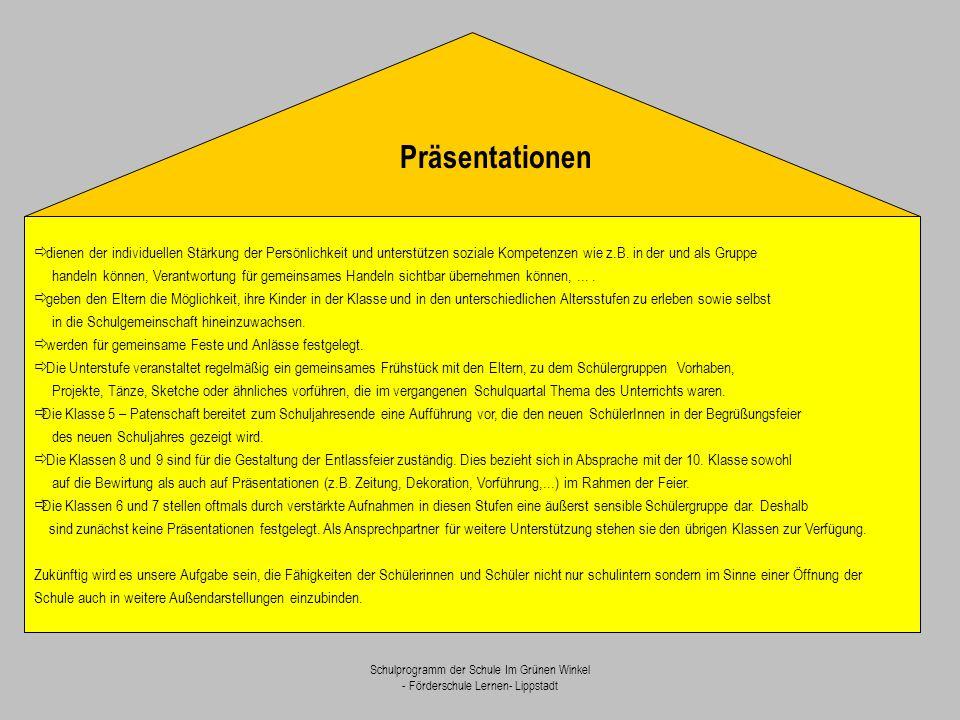 Schulprogramm der Schule Im Grünen Winkel - Förderschule Lernen- Lippstadt  dienen der individuellen Stärkung der Persönlichkeit und unterstützen soz