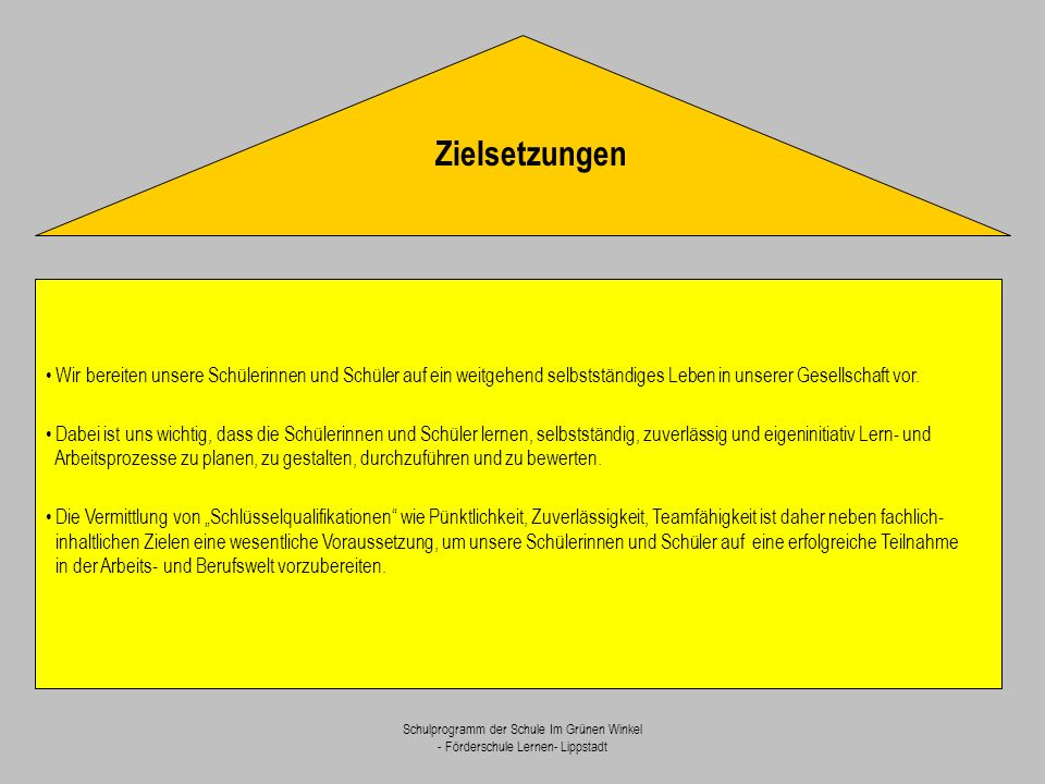 Schulprogramm der Schule Im Grünen Winkel - Förderschule Lernen- Lippstadt Wir bereiten unsere Schülerinnen und Schüler auf ein weitgehend selbstständ