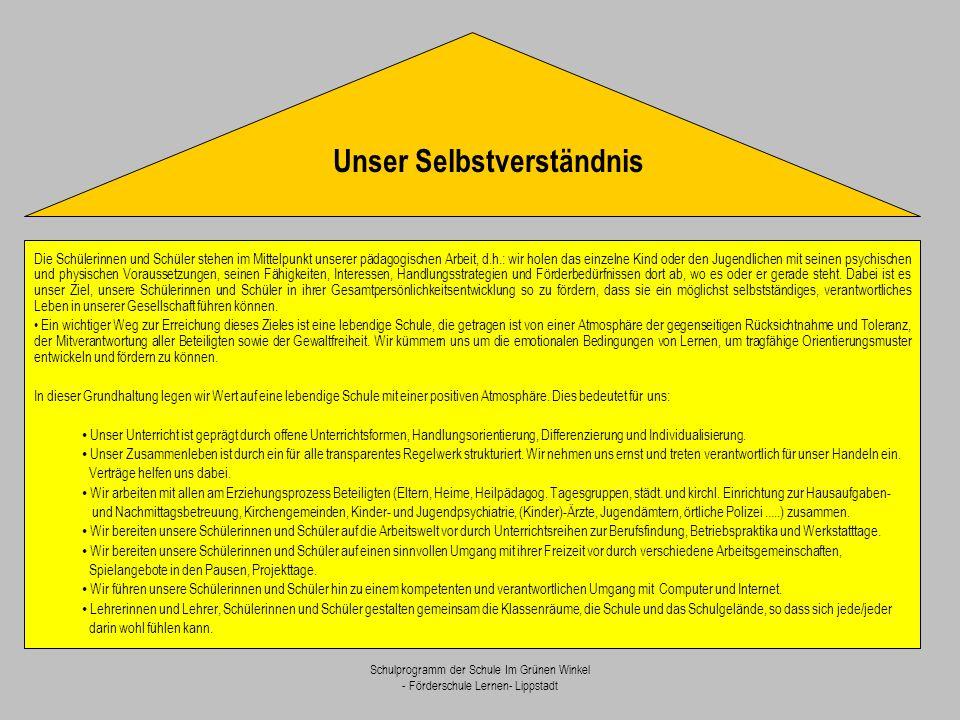 Schulprogramm der Schule Im Grünen Winkel - Förderschule Lernen- Lippstadt Wir legen sehr viel Wert auf ein friedliches Miteinander, das getragen ist von gegenseitiger Akzeptanz und Toleranz.