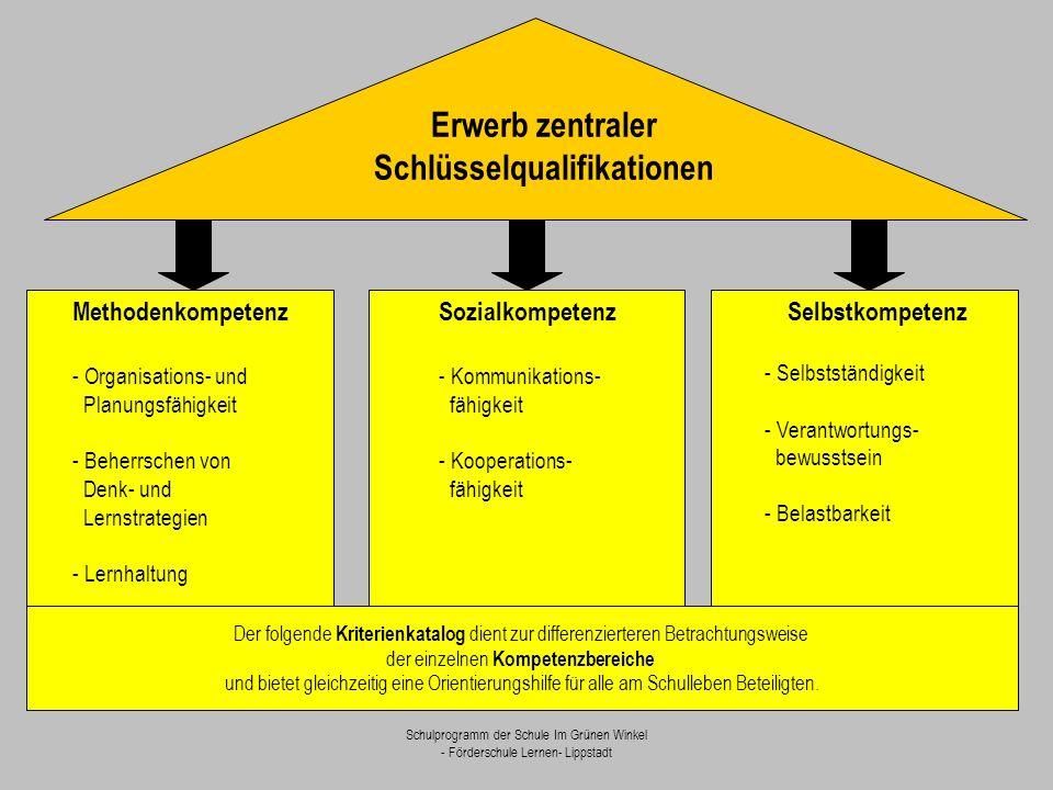 Schulprogramm der Schule Im Grünen Winkel - Förderschule Lernen- Lippstadt Methodenkompetenz - Organisations- und Planungsfähigkeit - Beherrschen von