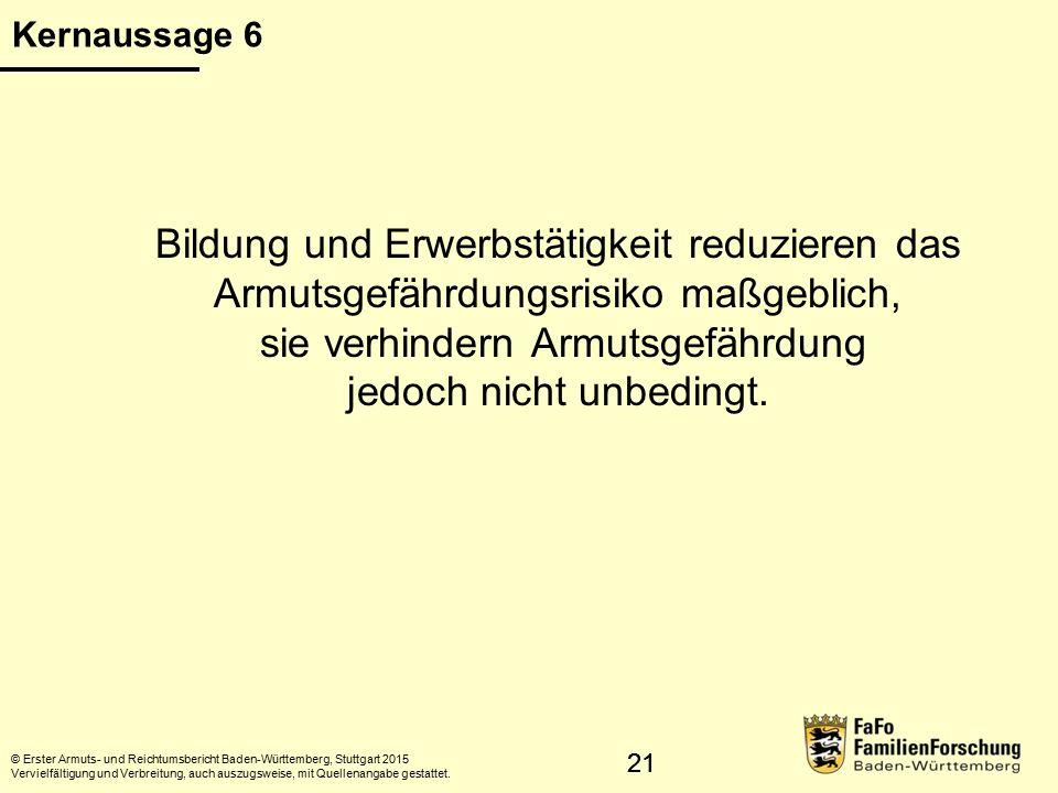 22 Armutsgefährdung und Qualifikation © Erster Armuts- und Reichtumsbericht Baden-Württemberg, Stuttgart 2015 Vervielfältigung und Verbreitung, auch auszugsweise, mit Quellenangabe gestattet.