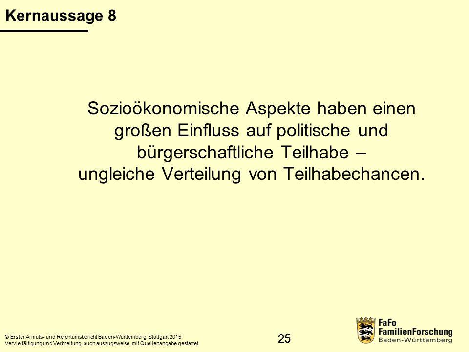 26 Ehrenamt und Partizipation © Erster Armuts- und Reichtumsbericht Baden-Württemberg, Stuttgart 2015 Vervielfältigung und Verbreitung, auch auszugsweise, mit Quellenangabe gestattet.