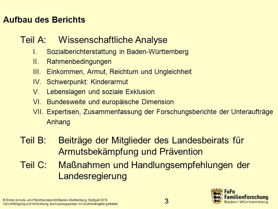 """44 Konzept der """"relativen Armut Einkommensverhältnisse des Einzelnen im Vergleich zum Wohlstand der jeweiligen Bevölkerung Personen gelten als arm, die über so geringe (materielle, kulturelle, soziale) Mittel verfügen, dass sie von der Lebensweise ausgeschlossen sind, die in dem Mitgliedsstaat, in dem sie leben, als Minimum annehmbar sind (Armutsverständnis der EU) © Erster Armuts- und Reichtumsbericht Baden-Württemberg, Stuttgart 2015 Vervielfältigung und Verbreitung, auch auszugsweise, mit Quellenangabe gestattet."""