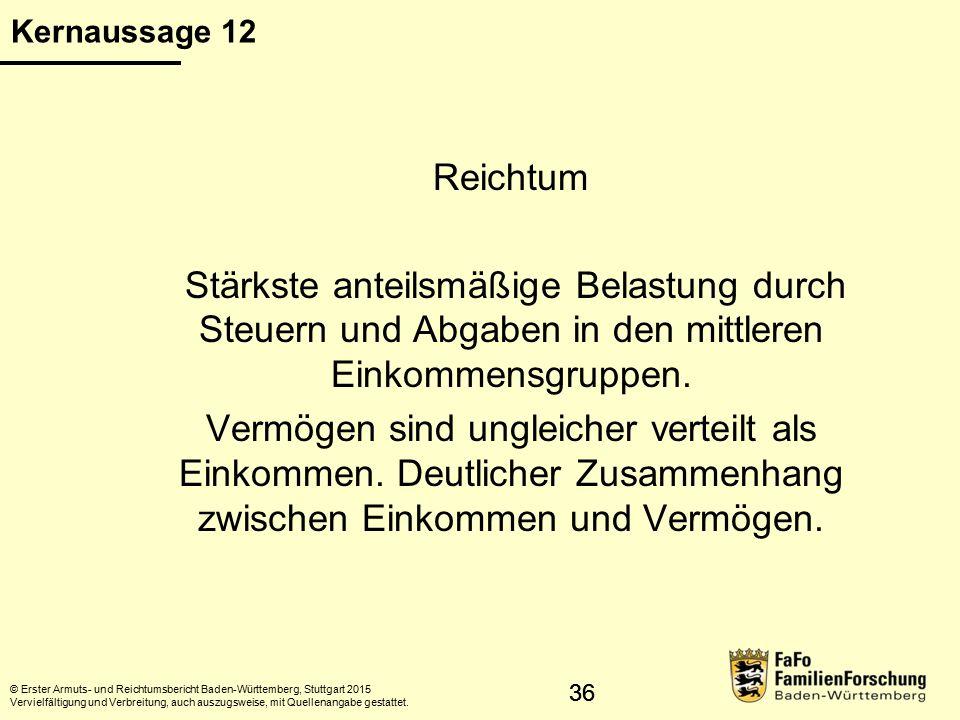 37 Anteil des Nettoeinkommens am Bruttoeinkommen © Erster Armuts- und Reichtumsbericht Baden-Württemberg, Stuttgart 2015 Vervielfältigung und Verbreitung, auch auszugsweise, mit Quellenangabe gestattet.