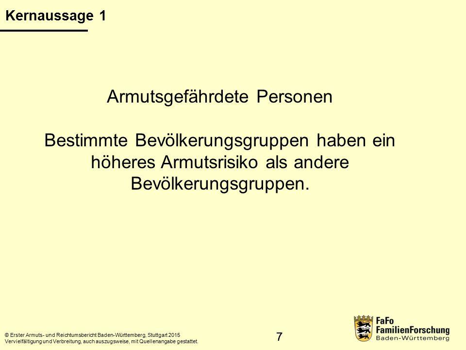 88 Durchschnitt der Bevölkerung:14,7% Frauen:15,8% Männer:13,6% Migrantinnen und Migranten: 24,1% Personen ohne Migrationshintergrund:11,2% Erwerbslose:54,1% Alleinerziehende und ihre Kinder: 45,8% Kinderreiche Paarfamilien: 26,2% Einpersonenhaushalte:25,5% Junge Erwachsene: 22,6% Kinder und Jugendliche:17,9% Rentner, Pensionäre:17,5% © Erster Armuts- und Reichtumsbericht Baden-Württemberg, Stuttgart 2015 Vervielfältigung und Verbreitung, auch auszugsweise, mit Quellenangabe gestattet.