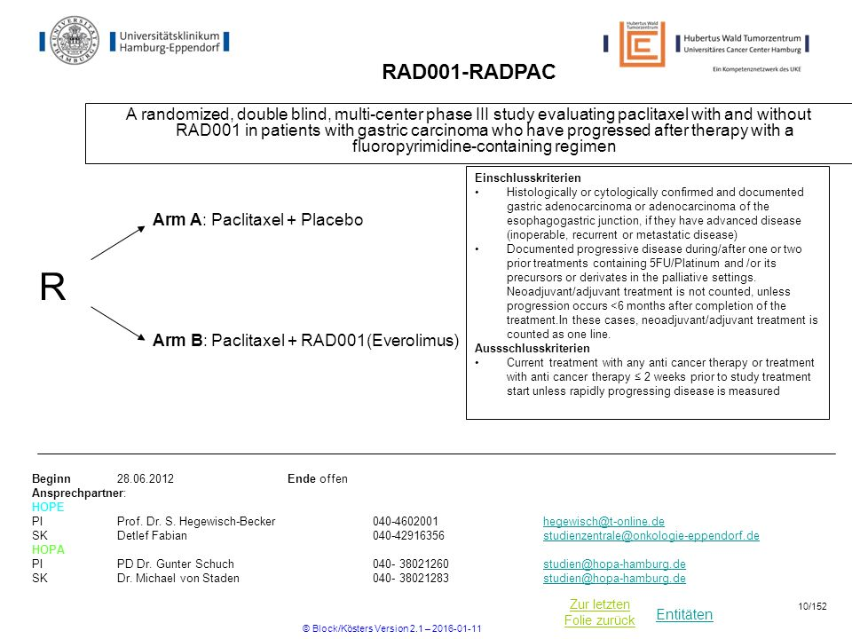 Entitäten Zur letzten Folie zurück RAD001-RADPAC A randomized, double blind, multi-center phase III study evaluating paclitaxel with and without RAD001 in patients with gastric carcinoma who have progressed after therapy with a fluoropyrimidine-containing regimen Beginn Ende offen Ansprechpartner: HOPE PIProf.