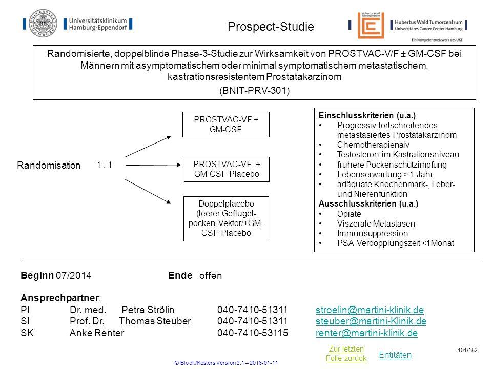 Entitäten Zur letzten Folie zurück Prospect-Studie Einschlusskriterien (u.a.) Progressiv fortschreitendes metastasiertes Prostatakarzinom Chemotherapi