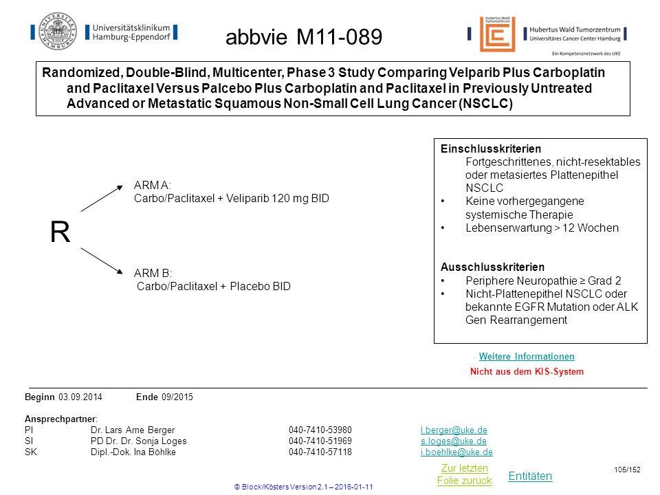 Entitäten Zur letzten Folie zurück abbvie M11-089 Randomized, Double-Blind, Multicenter, Phase 3 Study Comparing Velparib Plus Carboplatin and Paclitaxel Versus Palcebo Plus Carboplatin and Paclitaxel in Previously Untreated Advanced or Metastatic Squamous Non-Small Cell Lung Cancer (NSCLC) R ARM B: Carbo/Paclitaxel + Placebo BID ARM A: Carbo/Paclitaxel + Veliparib 120 mg BID Einschlusskriterien Fortgeschrittenes, nicht-resektables oder metasiertes Plattenepithel NSCLC Keine vorhergegangene systemische Therapie Lebenserwartung > 12 Wochen Ausschlusskriterien Periphere Neuropathie ≥ Grad 2 Nicht-Plattenepithel NSCLC oder bekannte EGFR Mutation oder ALK Gen Rearrangement Beginn 03.09.2014 Ende 09/2015 Ansprechpartner: PIDr.