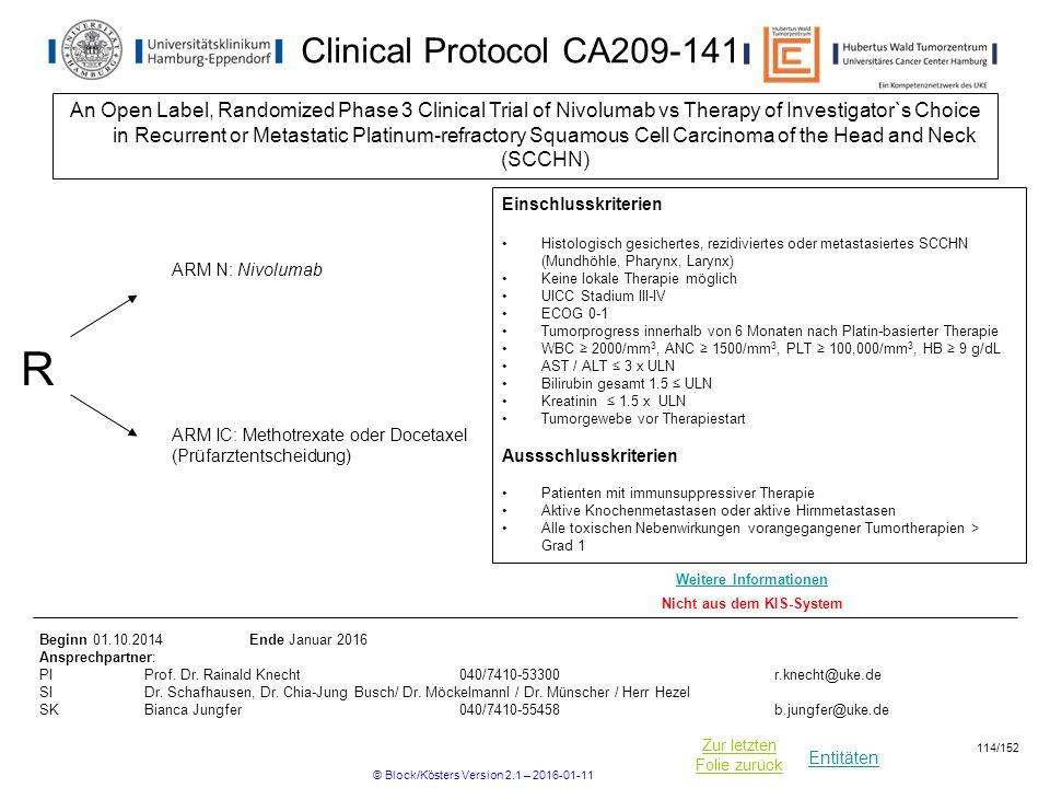 Entitäten Zur letzten Folie zurück Clinical Protocol CA209-141 An Open Label, Randomized Phase 3 Clinical Trial of Nivolumab vs Therapy of Investigator`s Choice in Recurrent or Metastatic Platinum-refractory Squamous Cell Carcinoma of the Head and Neck (SCCHN) R ARM IC: Methotrexate oder Docetaxel (Prüfarztentscheidung) Einschlusskriterien Histologisch gesichertes, rezidiviertes oder metastasiertes SCCHN (Mundhöhle, Pharynx, Larynx) Keine lokale Therapie möglich UICC Stadium III-IV ECOG 0-1 Tumorprogress innerhalb von 6 Monaten nach Platin-basierter Therapie WBC ≥ 2000/mm 3, ANC ≥ 1500/mm 3, PLT ≥ 100,000/mm 3, HB ≥ 9 g/dL AST / ALT ≤ 3 x ULN Bilirubin gesamt 1.5 ≤ ULN Kreatinin ≤ 1.5 x ULN Tumorgewebe vor Therapiestart Aussschlusskriterien Patienten mit immunsuppressiver Therapie Aktive Knochenmetastasen oder aktive Hirnmetastasen Alle toxischen Nebenwirkungen vorangegangener Tumortherapien > Grad 1 Beginn 01.10.2014Ende Januar 2016 Ansprechpartner: PIProf.