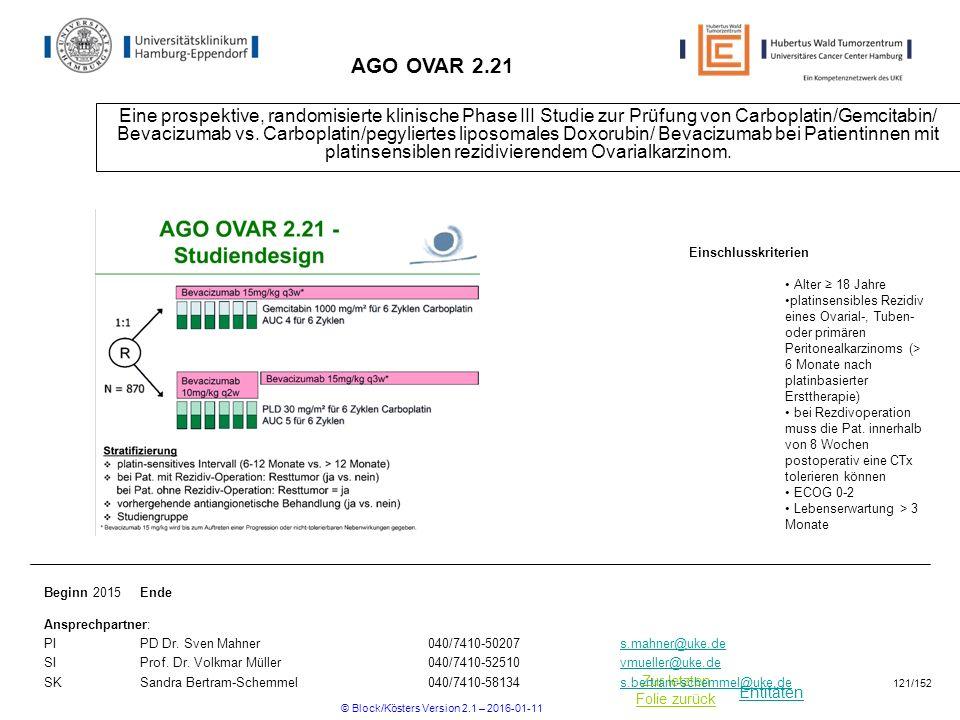 Entitäten Zur letzten Folie zurück AGO OVAR 2.21 Eine prospektive, randomisierte klinische Phase III Studie zur Prüfung von Carboplatin/Gemcitabin/ Bevacizumab vs.
