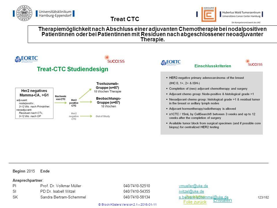 Entitäten Zur letzten Folie zurück Treat CTC Therapiemöglichkeit nach Abschluss einer adjuvanten Chemotherapie bei nodalpositiven Patientinnen oder bei Patientinnen mit Residuen nach abgeschlossener neoadjuvanter Therapie.