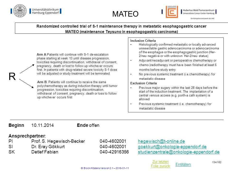Entitäten Zur letzten Folie zurück MATEO Randomized controlled trial of S-1 maintenance therapy in metastatic esophagogastric cancer MATEO (maintenance Teysuno in esophagogastric carcinoma) Beginn Ende offen Ansprechpartner: PIProf.