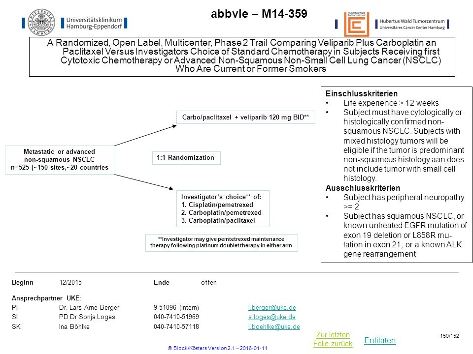 Entitäten Zur letzten Folie zurück abbvie – M A Randomized, Open Label, Multicenter, Phase 2 Trail Comparing Veliparib Plus Carboplatin an Paclitaxel Versus Investigators Choice of Standard Chemotherapy in Subjects Receiving first Cytotoxic Chemotherapy or Advanced Non-Squamous Non-Small Cell Lung Cancer (NSCLC) Who Are Current or Former Smokers Beginn12/2015Ende offen Ansprechpartner UKE: PIDr.