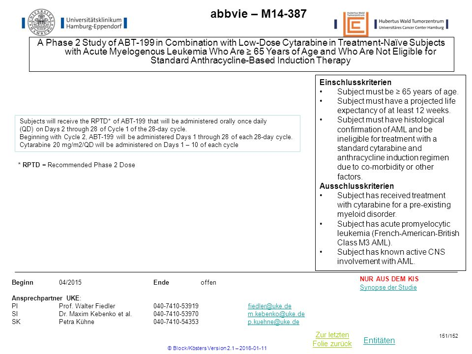 Entitäten Zur letzten Folie zurück abbvie – M A Phase 2 Study of ABT-199 in Combination with Low-Dose Cytarabine in Treatment-Naïve Subjects with Acute Myelogenous Leukemia Who Are ≥ 65 Years of Age and Who Are Not Eligible for Standard Anthracycline-Based Induction Therapy Beginn04/2015Ende offen Ansprechpartner UKE: PIProf.