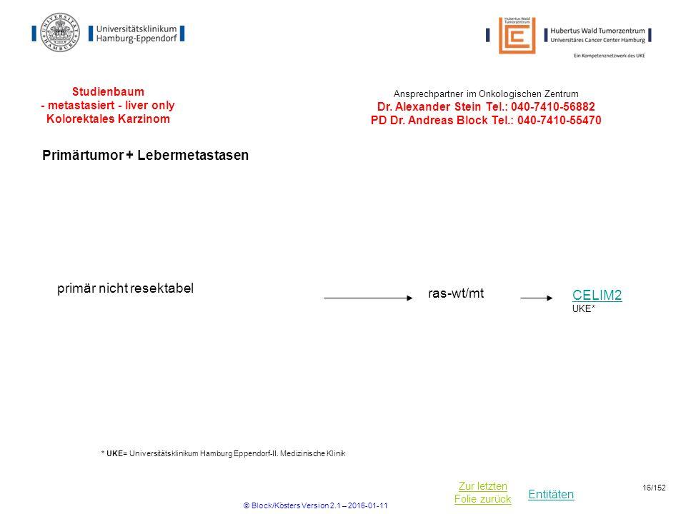 Entitäten Zur letzten Folie zurück Studienbaum - metastasiert - liver only Kolorektales Karzinom CELIM2 primär nicht resektabel ras-wt/mt UKE* * UKE=