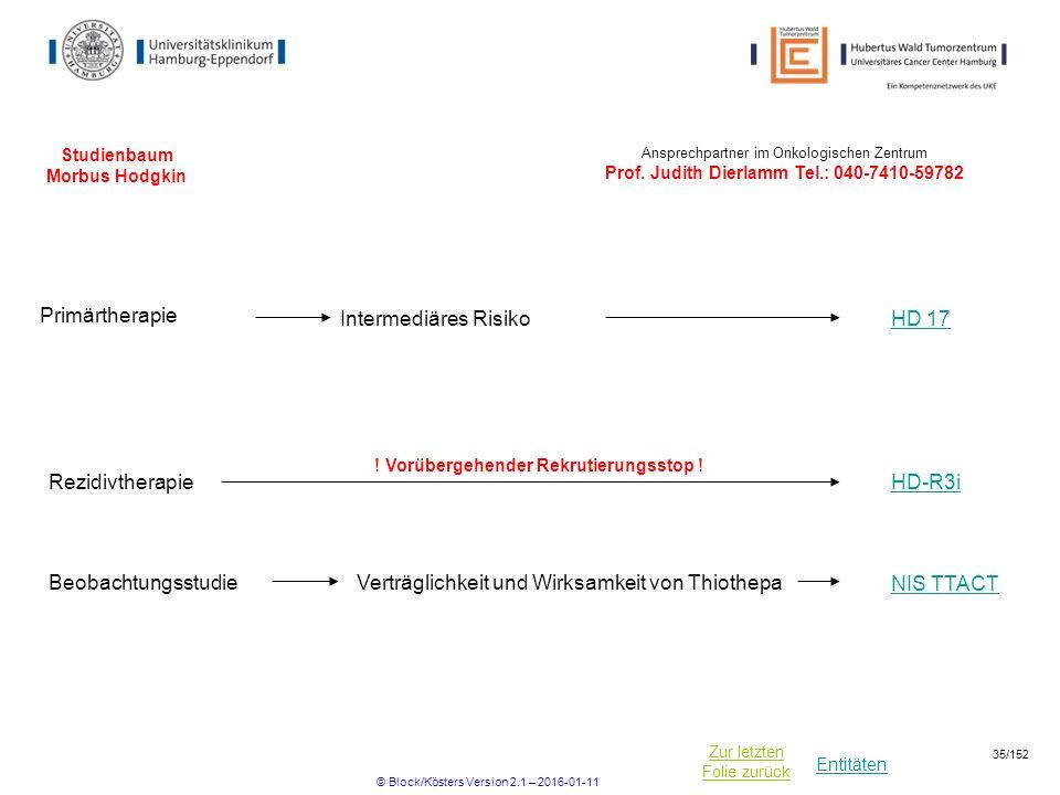 Entitäten Zur letzten Folie zurück Studienbaum Morbus Hodgkin HD 17 Intermediäres Risiko Primärtherapie Ansprechpartner im Onkologischen Zentrum Prof.
