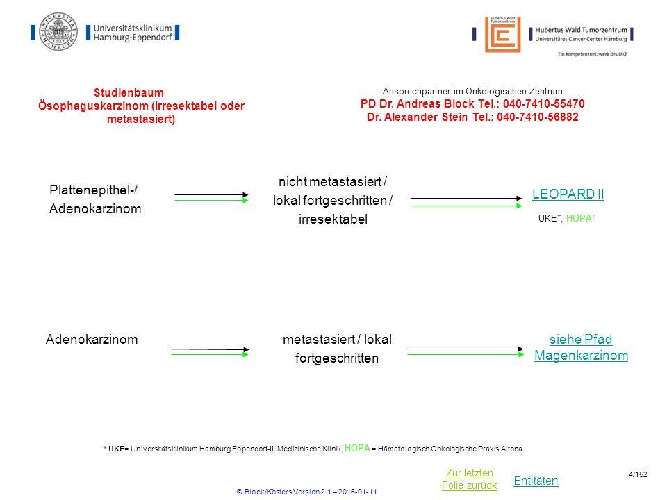 Entitäten Zur letzten Folie zurück Studienbaum Ösophaguskarzinom (irresektabel oder metastasiert) LEOPARD II Plattenepithel-/ Adenokarzinom nicht meta