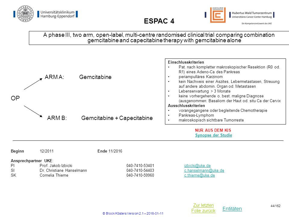 Entitäten Zur letzten Folie zurück ESPAC 4 A phase III, two arm, open-label, multi-centre randomised clinical trial comparing combination gemcitabine and capecitabine therapy with gemcitabine alone Beginn12/2011Ende 11/2016 Ansprechpartner UKE: PIProf.