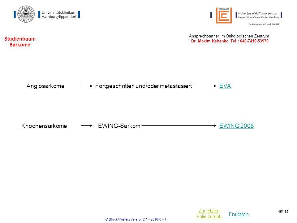 Entitäten Zur letzten Folie zurück Studienbaum Sarkome EWING 2008EWING-SarkomKnochensarkome Ansprechpartner im Onkologischen Zentrum Dr. Maxim Kebenko