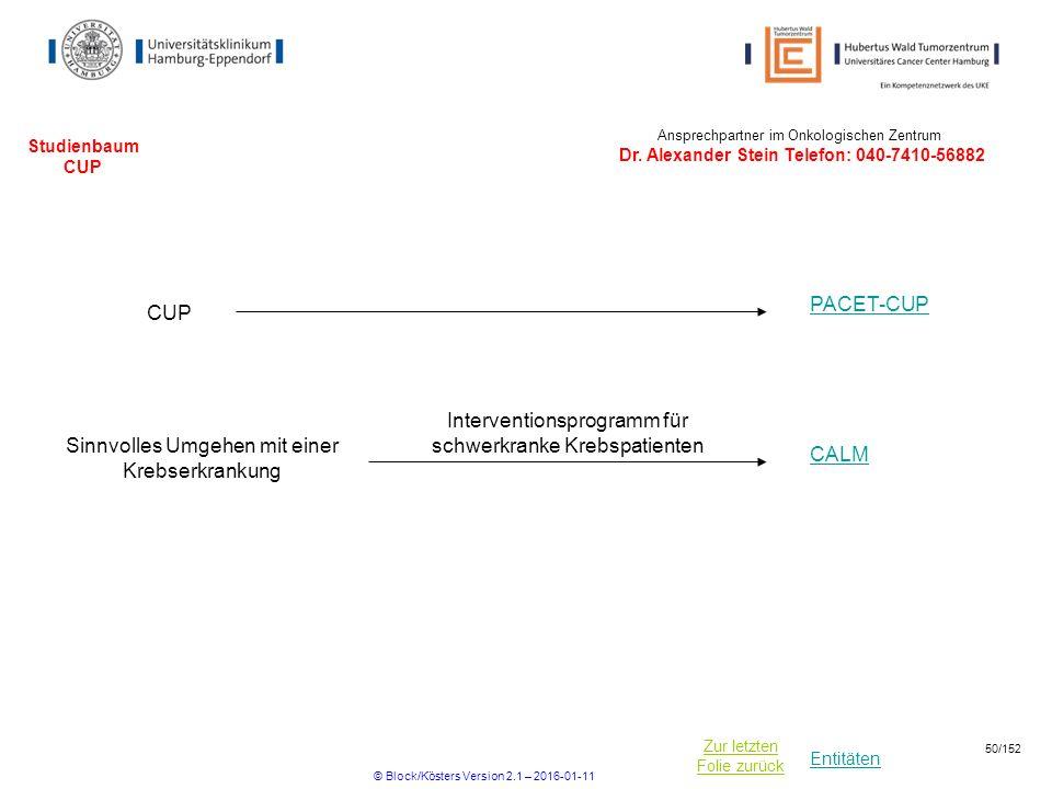 Entitäten Zur letzten Folie zurück Studienbaum CUP CUP PACET-CUP Ansprechpartner im Onkologischen Zentrum Dr.
