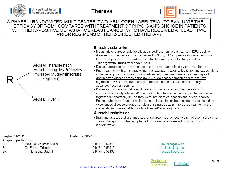 Entitäten Zur letzten Folie zurück Theresa A PHASE III RANDOMIZED, MULTICENTER, TWO-ARM, OPEN-LABEL TRIAL TO EVALUATE THE EFFICACY OF T-DM1 COMPARED WITH TREATMENT OF PHYSICIAN'S CHOICE IN PATIENTS WITH HER2-POSITIVE METASTATIC BREAST CANCER WHO HAVE RECEIVED AT LEAST TWO PRIOR REGIMENS OF HER2-DIRECTED THERAPY R ARM B: T-DM 1 Einschlusskriterien Metastatic or unresectable locally advanced/recurrent breast cancer HER2-positive disease documented as ISH-positive and/or 3+ by IHC on previously collected tumor tissue and prospectively confirmed central laboratory prior to study enrollment.