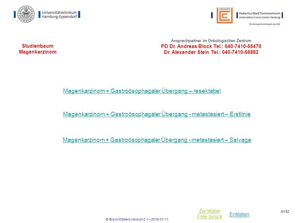 Entitäten Zur letzten Folie zurück Studienbaum Magenkarzinom Magenkarzinom + Gastroösophagaler Übergang – resektabel Ansprechpartner im Onkologischen Zentrum PD Dr.