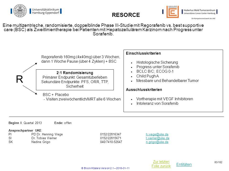 Entitäten Zur letzten Folie zurück RESORCE Eine multizentrische, randomisierte, doppelblinde Phase III-Studie mit Regorafenib vs.