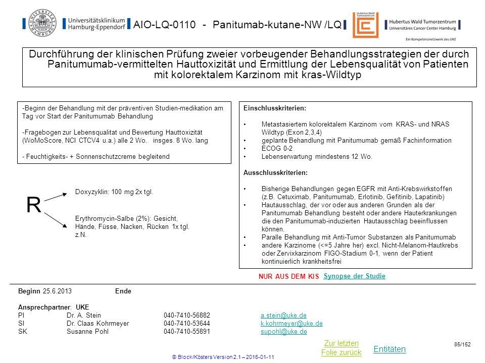 Entitäten Zur letzten Folie zurück AIO-LQ-0110 - Panitumab-kutane-NW /LQ Durchführung der klinischen Prüfung zweier vorbeugender Behandlungsstrategien