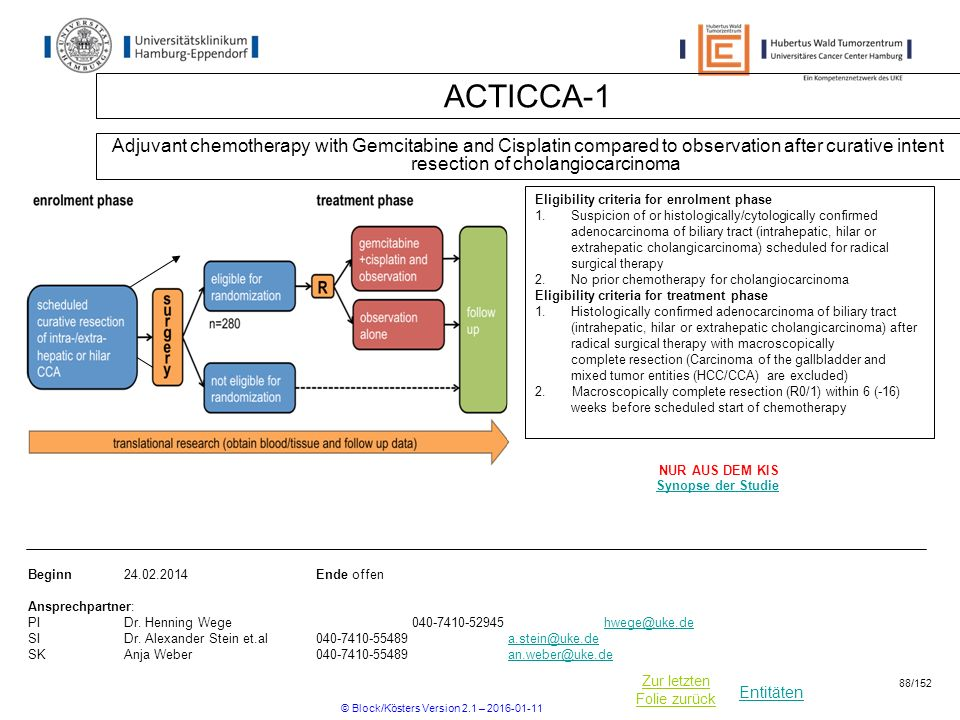 Entitäten Zur letzten Folie zurück ACTICCA-1 Adjuvant chemotherapy with Gemcitabine and Cisplatin compared to observation after curative intent resection of cholangiocarcinoma Beginn Ende offen Ansprechpartner: PIDr.