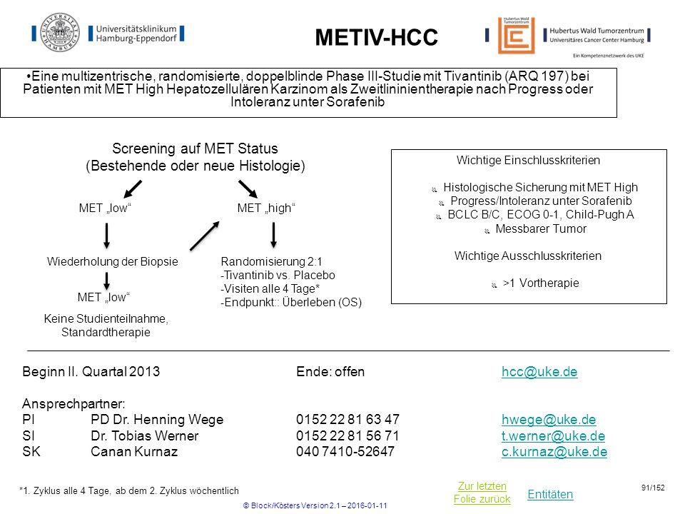 Entitäten Zur letzten Folie zurück METIV-HCC Eine multizentrische, randomisierte, doppelblinde Phase III-Studie mit Tivantinib (ARQ 197) bei Patienten mit MET High Hepatozellulären Karzinom als Zweitlininientherapie nach Progress oder Intoleranz unter Sorafenib Wichtige Einschlusskriterien  Histologische Sicherung mit MET High  Progress/Intoleranz unter Sorafenib  BCLC B/C, ECOG 0-1, Child-Pugh A  Messbarer Tumor Wichtige Ausschlusskriterien  >1 Vortherapie Beginn II.