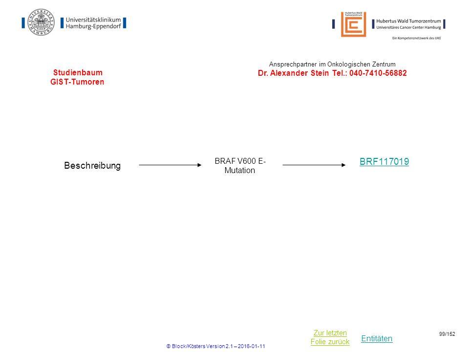 Entitäten Zur letzten Folie zurück Studienbaum GIST-Tumoren BRF117019 Ansprechpartner im Onkologischen Zentrum Dr. Alexander Stein Tel.: 040-7410-5688
