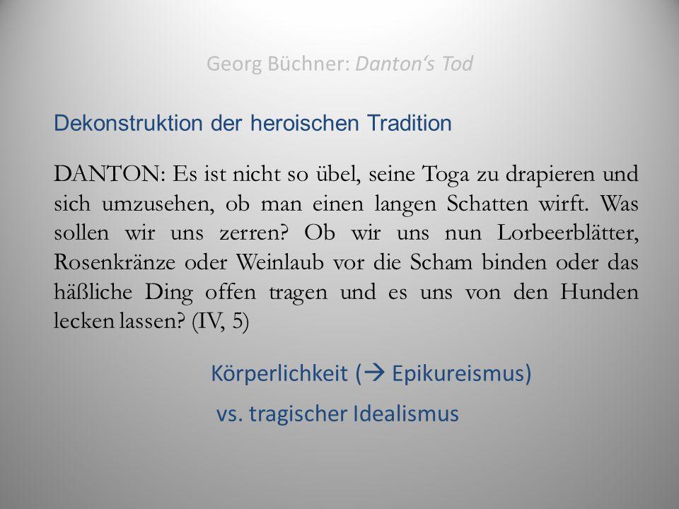 Georg Büchner: Danton's Tod Dekonstruktion der heroischen Tradition DANTON: Es ist nicht so übel, seine Toga zu drapieren und sich umzusehen, ob man einen langen Schatten wirft.