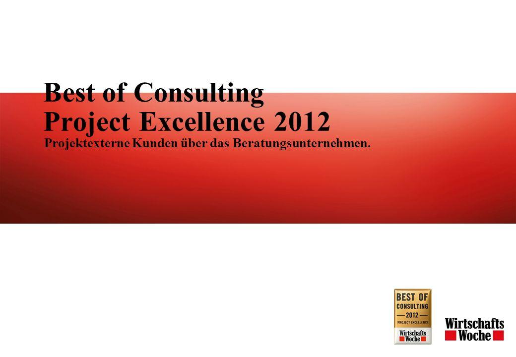 Best of Consulting Project Excellence 2012 Projektexterne Kunden über das Beratungsunternehmen.