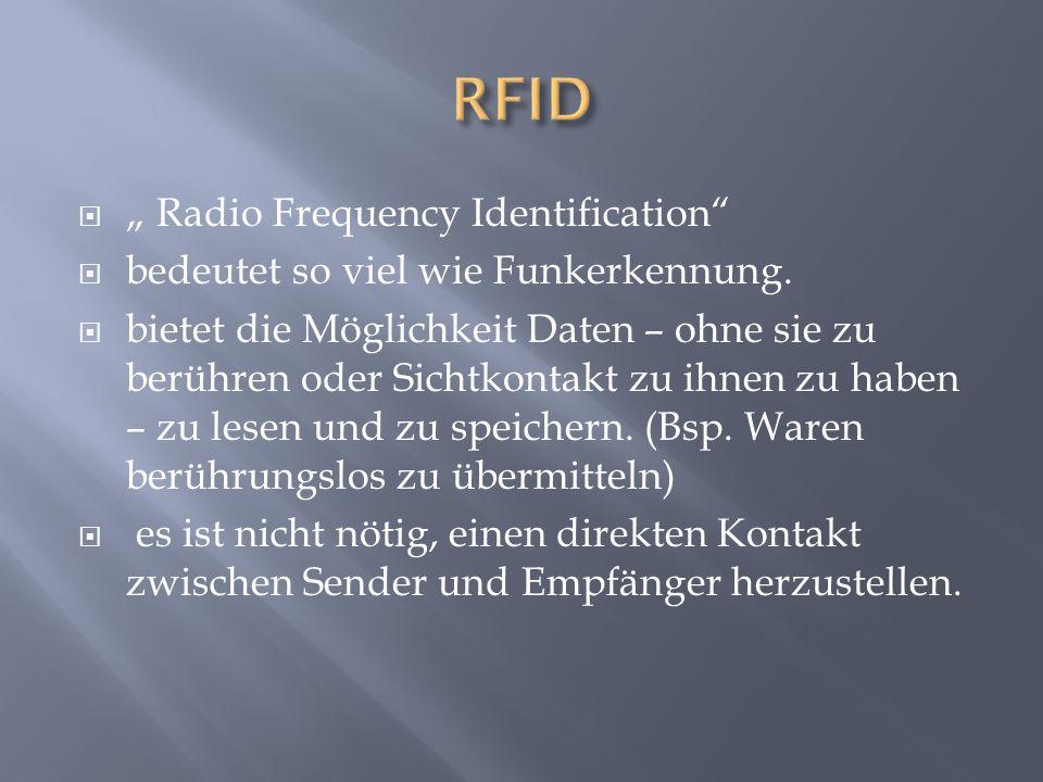 """ """" Radio Frequency Identification  bedeutet so viel wie Funkerkennung."""